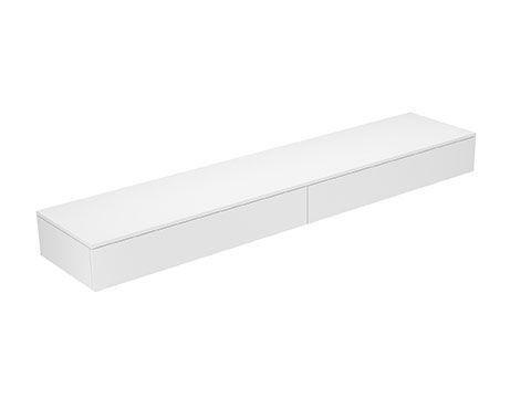 Keuco Edition 400 Sideboard wandhängend 2 Frontauszüge 2100 x 199 x 450 mm weiß/Glas trüffel klar 31770720001