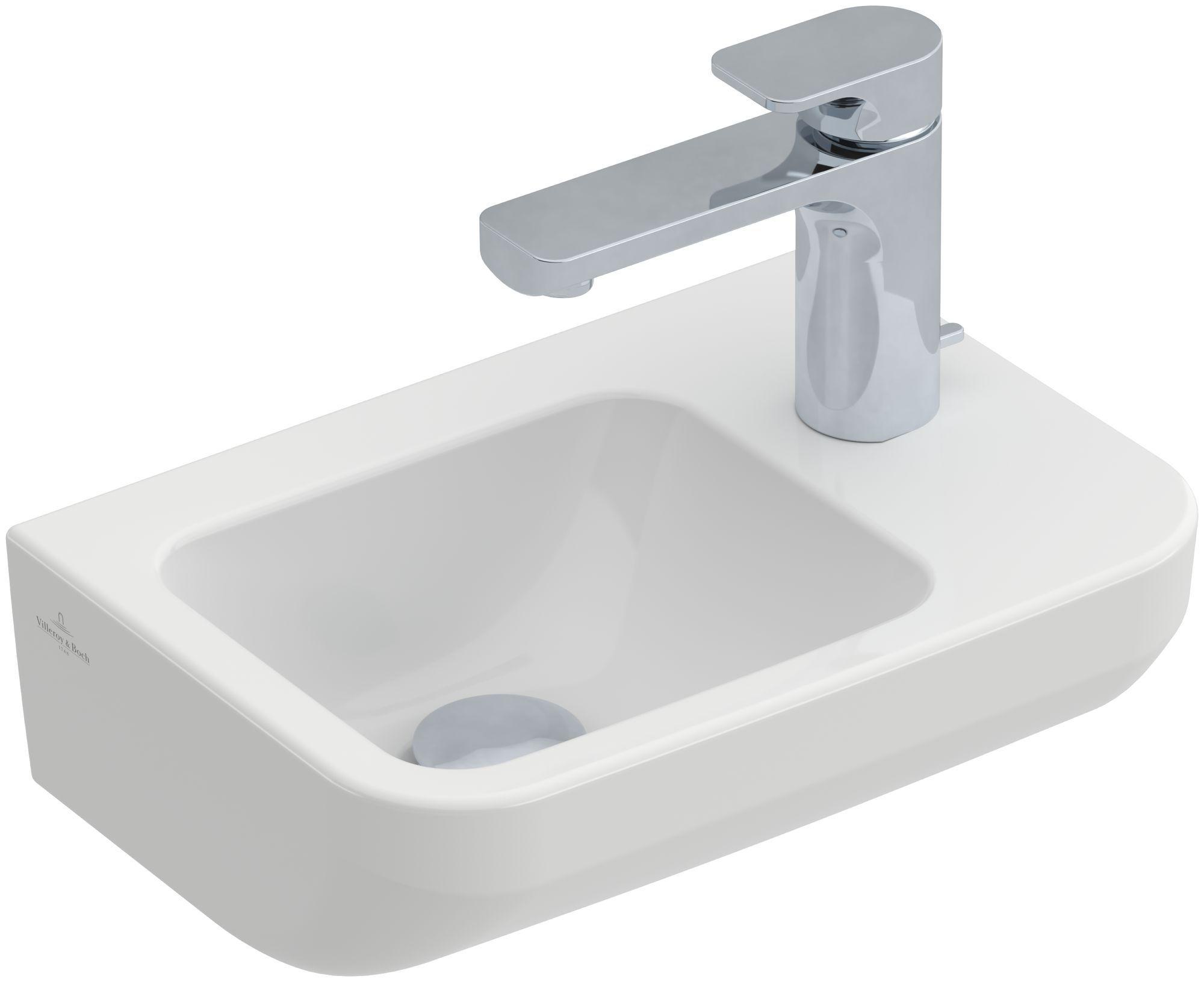 Villeroy & Boch Architectura Handwaschbecken B:36xT:26cm mit 1 Hahnloch rechts ohne Überlauf weiß mit CeramicPlus 437337R1