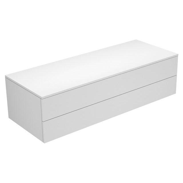 Keuco Edition 400 Sideboard wandhängend 2 Frontauszüge 1400 x 382 x 535 mm weiß hochglanz/Glas trüffel klar 31762820000