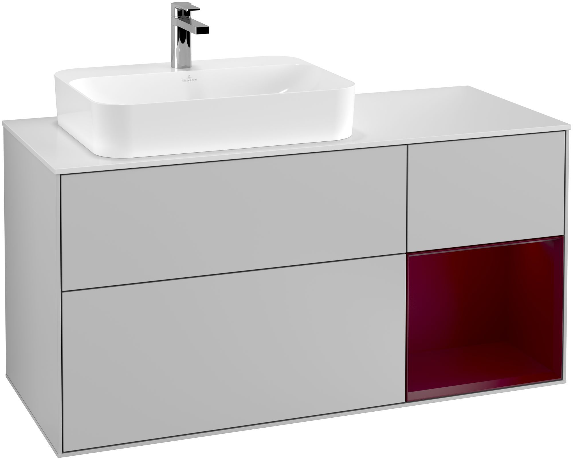 Villeroy & Boch Finion F40 Waschtischunterschrank mit Regalelement 3 Auszüge Waschtisch links LED-Beleuchtung B:120xH:60,3xT:50,1cm Front, Korpus: Light Grey Matt, Regal: Peony, Glasplatte: White Matt F401HBGJ