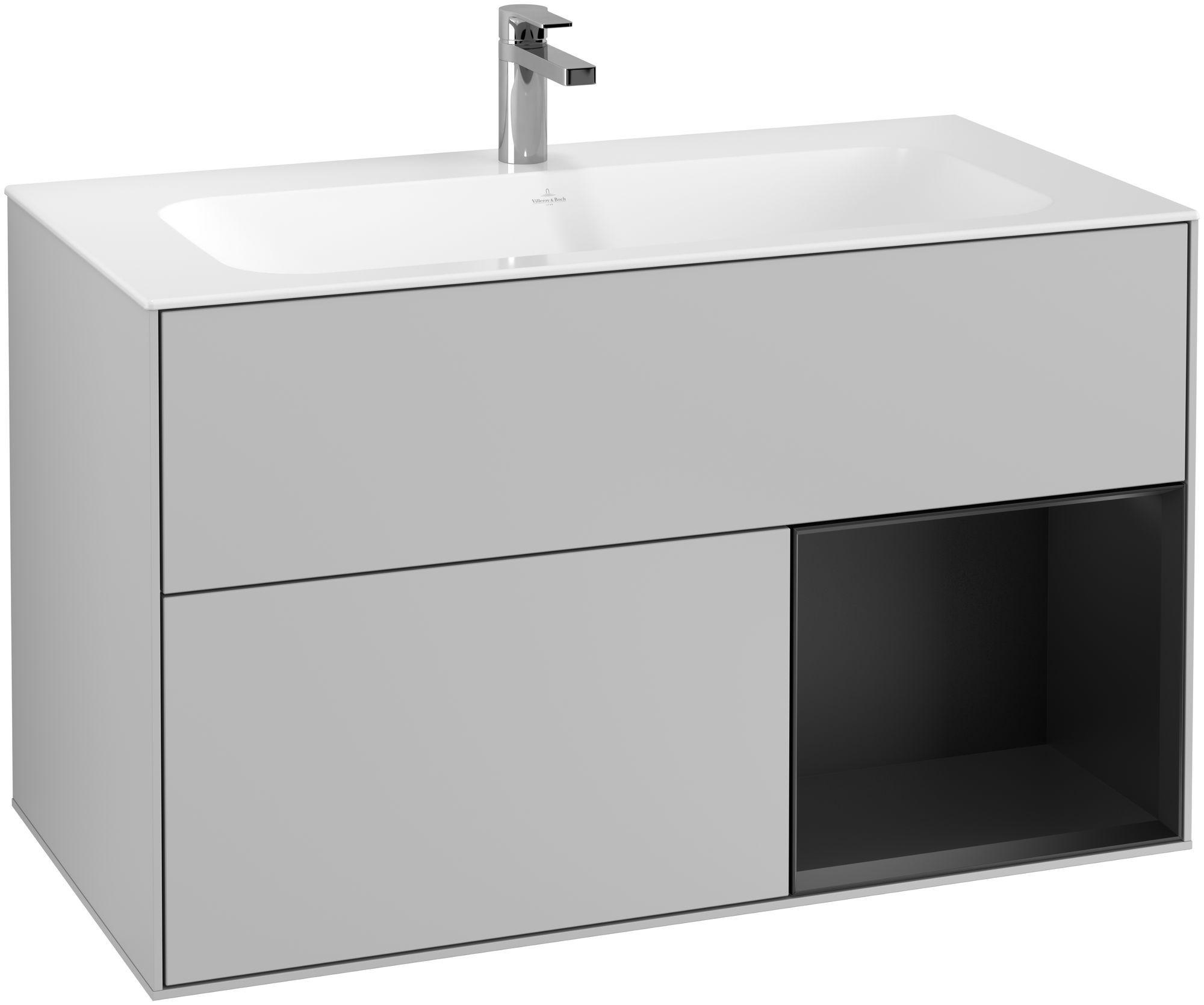 Villeroy & Boch Finion F04 Waschtischunterschrank mit Regalelement 2 Auszüge LED-Beleuchtung B:99,6xH:59,1xT:49,8cm Front, Korpus: Light Grey Matt, Regal: Black Matt Lacquer F040PDGJ
