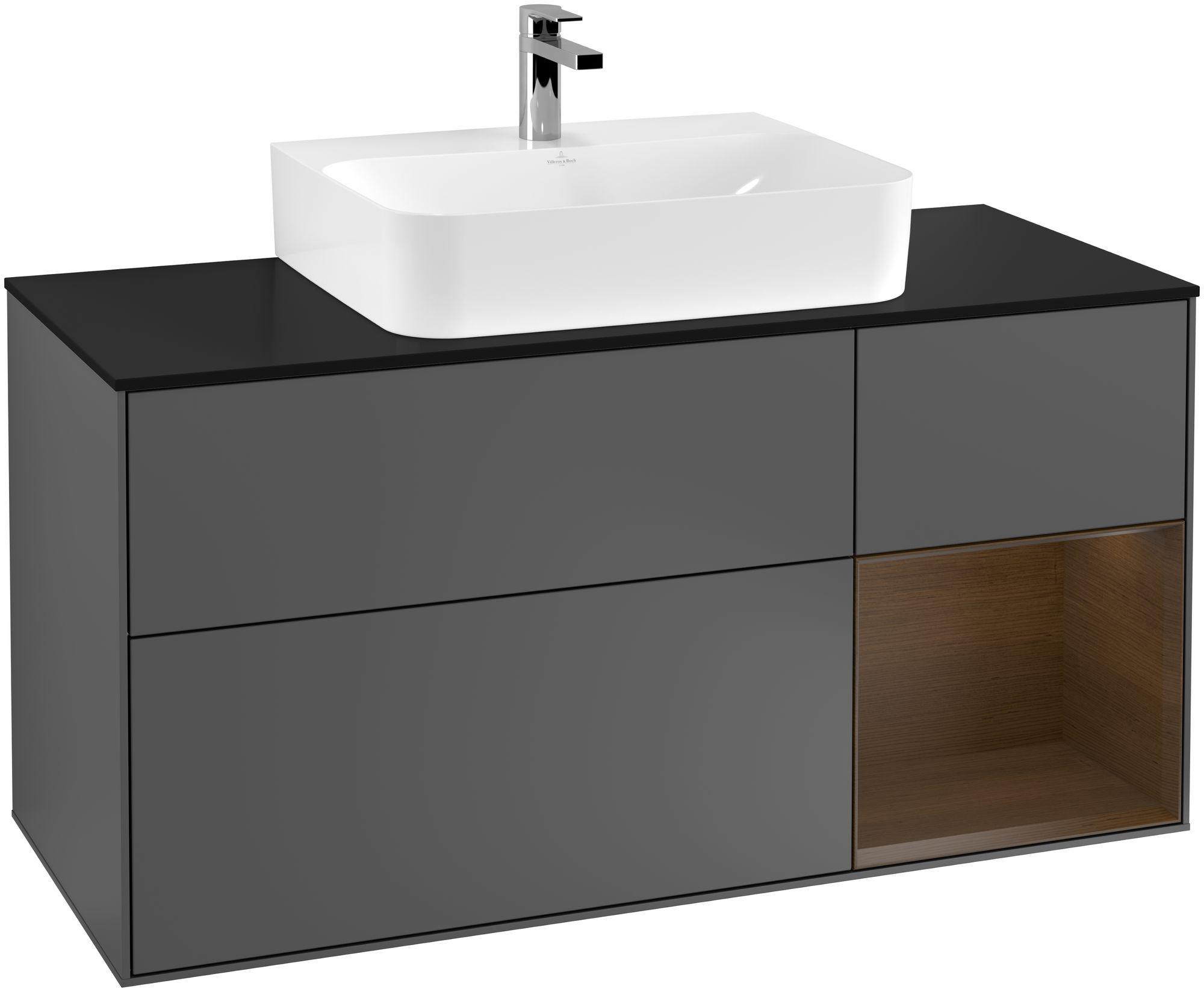 Villeroy & Boch Finion G17 Waschtischunterschrank mit Regalelement 3 Auszüge Waschtisch mittig LED-Beleuchtung B:120xH:60,3xT:50,1cm Front, Korpus: Anthracite Matt, Regal: Walnut Veneer, Glasplatte: Black Matt G172GNGK