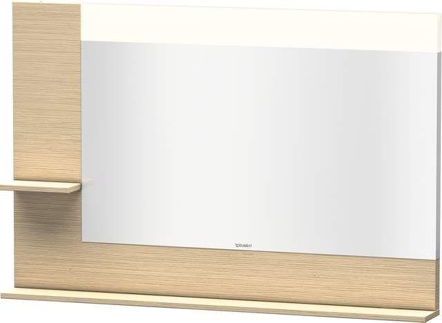 Duravit Vero Spiegel mit LED-Beleuchtung B:120xH:80xT:14,2cm mit Ablagen links und unten eiche gebürstet VE731301212
