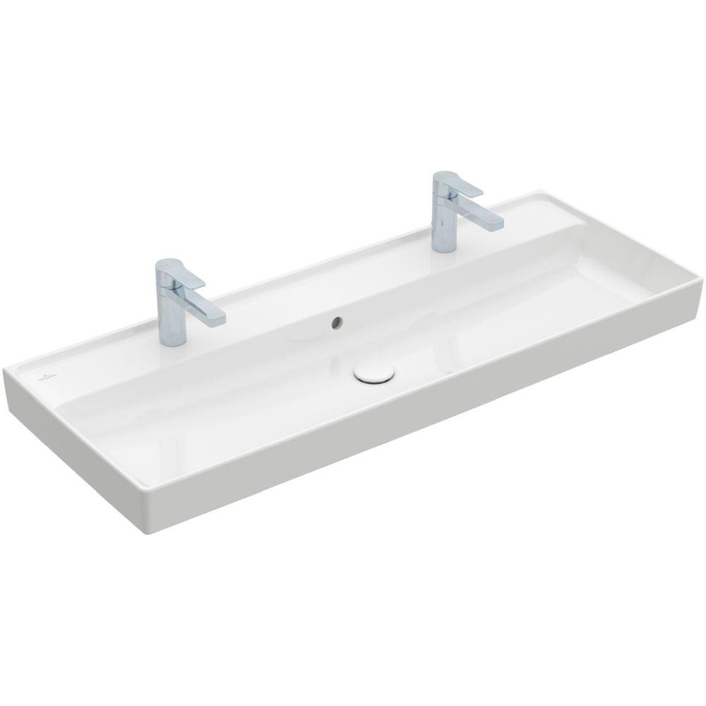 Villeroy & Boch Schrankwaschtisch Collaro, 1200 x 470 mm, Rechteck, 2HL, ohne Überlauf, ungeschliffen, Weiß Alpin 4A33C101