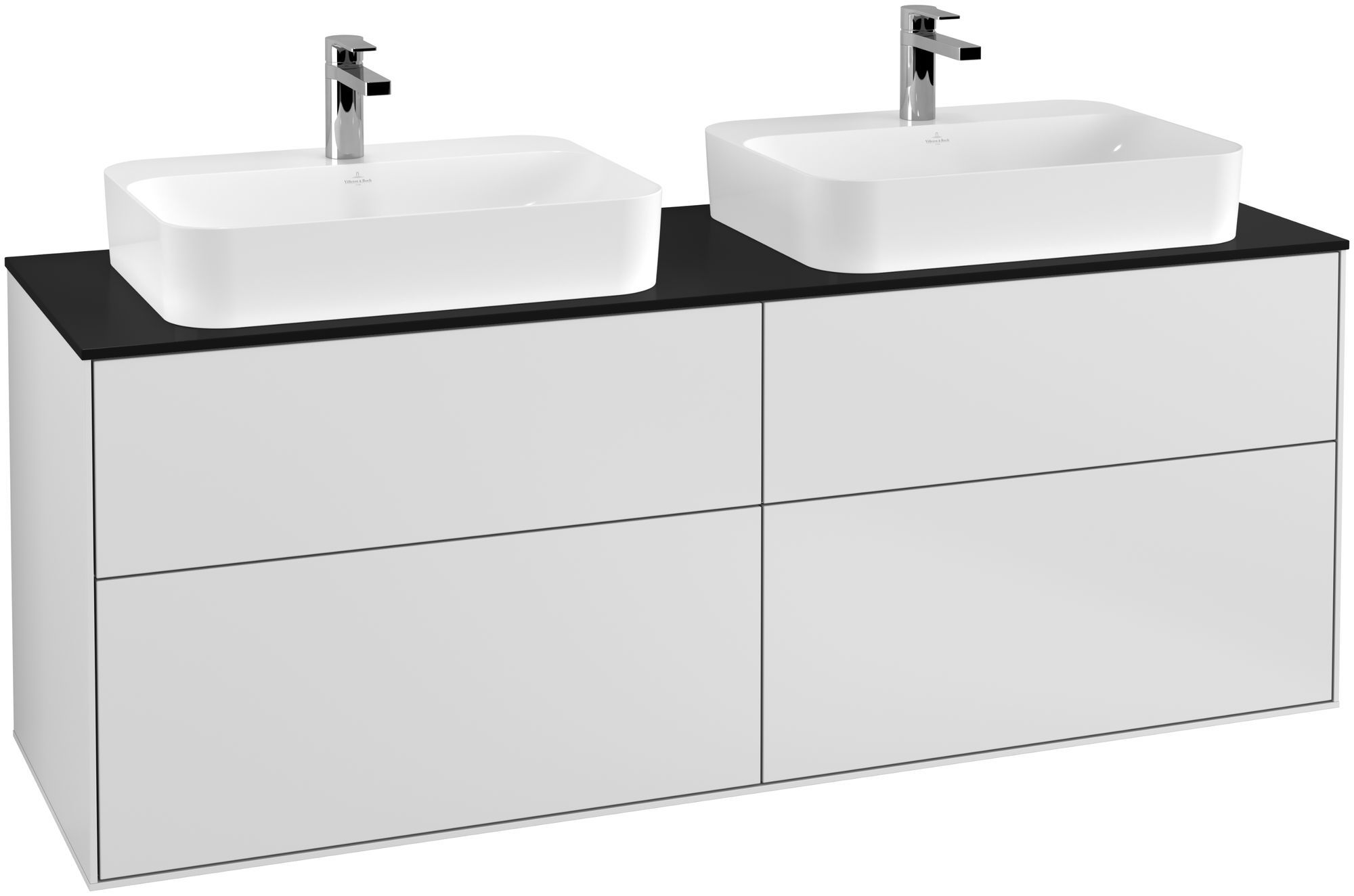 Villeroy & Boch Finion F43 Waschtischunterschrank 4 Auszüge B:160xH:60,3xT:50,1cm Front, Korpus: Weiß Matt Soft Grey, Glasplatte: Black Matt F43200MT