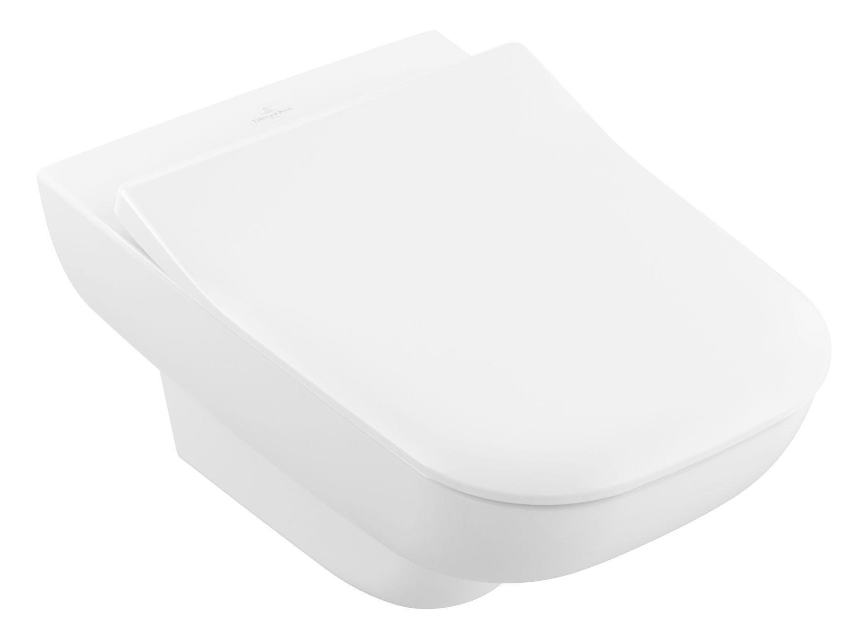 Villeroy & Boch Joyce Combi-Pack Tiefspül-Wand-WC DirectFlush mit offenem Spülrand B:37xL:56cm und Slimseat WC-Sitz weiß mit CeramicPlus 5607HRR1