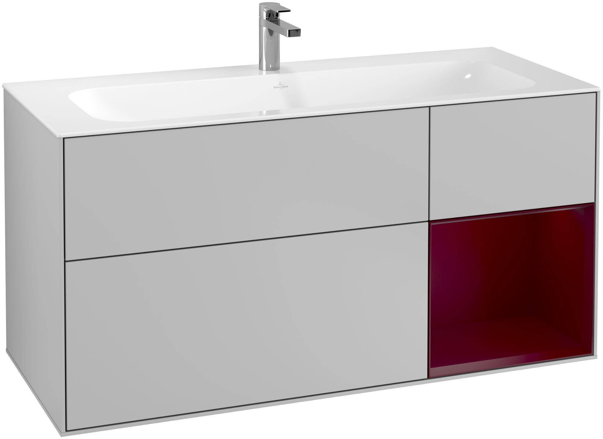 Villeroy & Boch Finion G07 Waschtischunterschrank mit Regalelement 3 Auszüge LED-Beleuchtung B:119,6xH:59,1xT:49,8cm Front, Korpus: Light Grey Matt, Regal: Peony G070HBGJ
