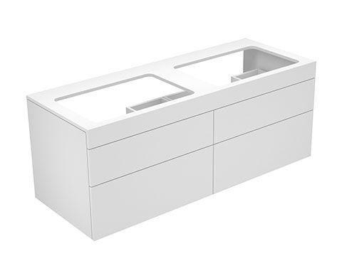 Keuco Edition 400 Waschtischunterbau ohne Hahnlochbohrung 4 Auszüge 1400 x 546 x 535 mm weiß hochglanz/Glas titan klar 31575960000