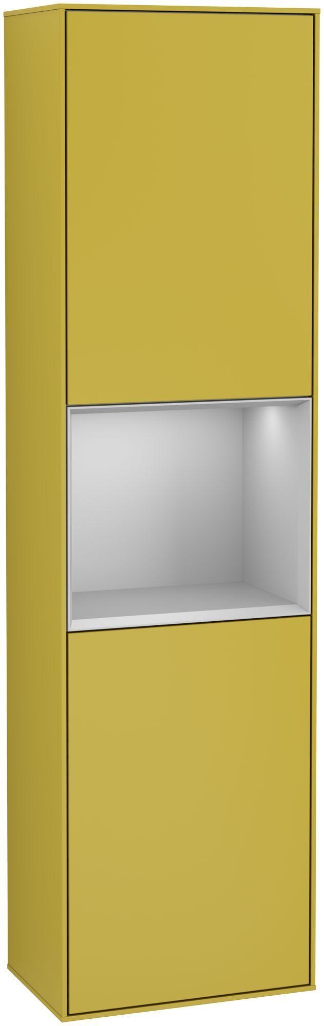 Villeroy & Boch Finion G47 Hochschrank mit Regalelement 2 Türen Anschlag rechts LED-Beleuchtung B:41,8xH:151,6xT:27cm Front, Korpus: Sun, Regal: Light Grey Matt G470GJHE