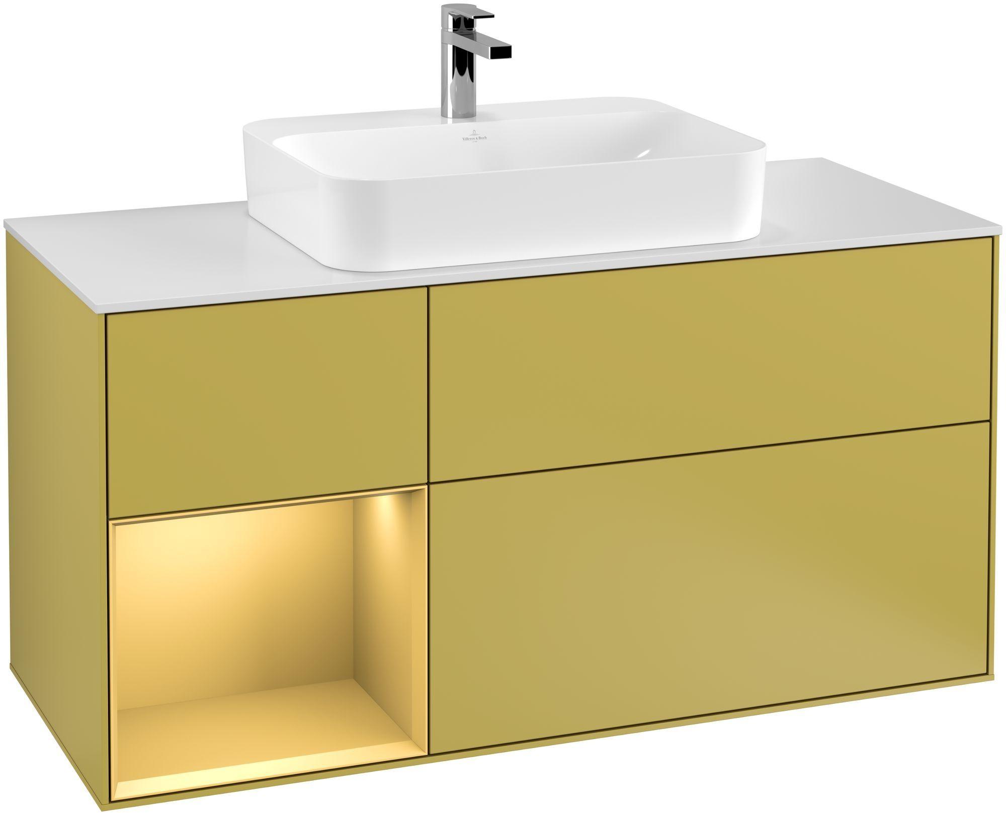 Villeroy & Boch Finion G41 Waschtischunterschrank mit Regalelement 3 Auszüge Waschtisch mittig LED-Beleuchtung B:120xH:60,3xT:50,1cm Front, Korpus: Sun, Regal: Gold Matt, Glasplatte: White Matt G411HFHE