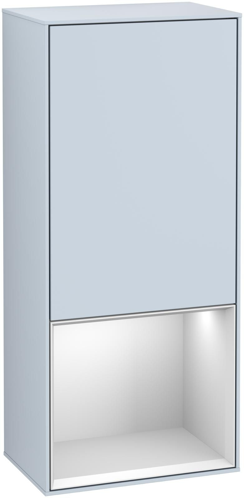 Villeroy & Boch Finion F55 Seitenschrank mit Regalelement 1 Tür Anschlag rechts LED-Beleuchtung B:41,8xH:93,6xT:27cm Front, Korpus: Cloud, Regal: Weiß Matt Soft Grey F550MTHA
