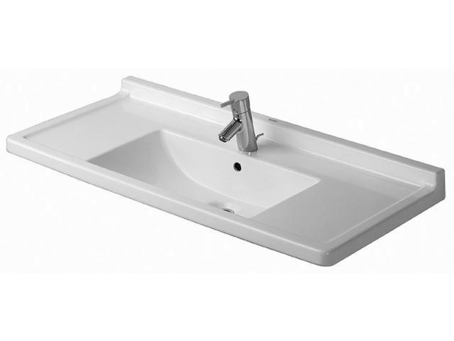 Duravit Starck 3 Möbelwaschtisch B:105xT:48,5cm 1 Hahnloch mittig mit Überlauf weiß 0304100000