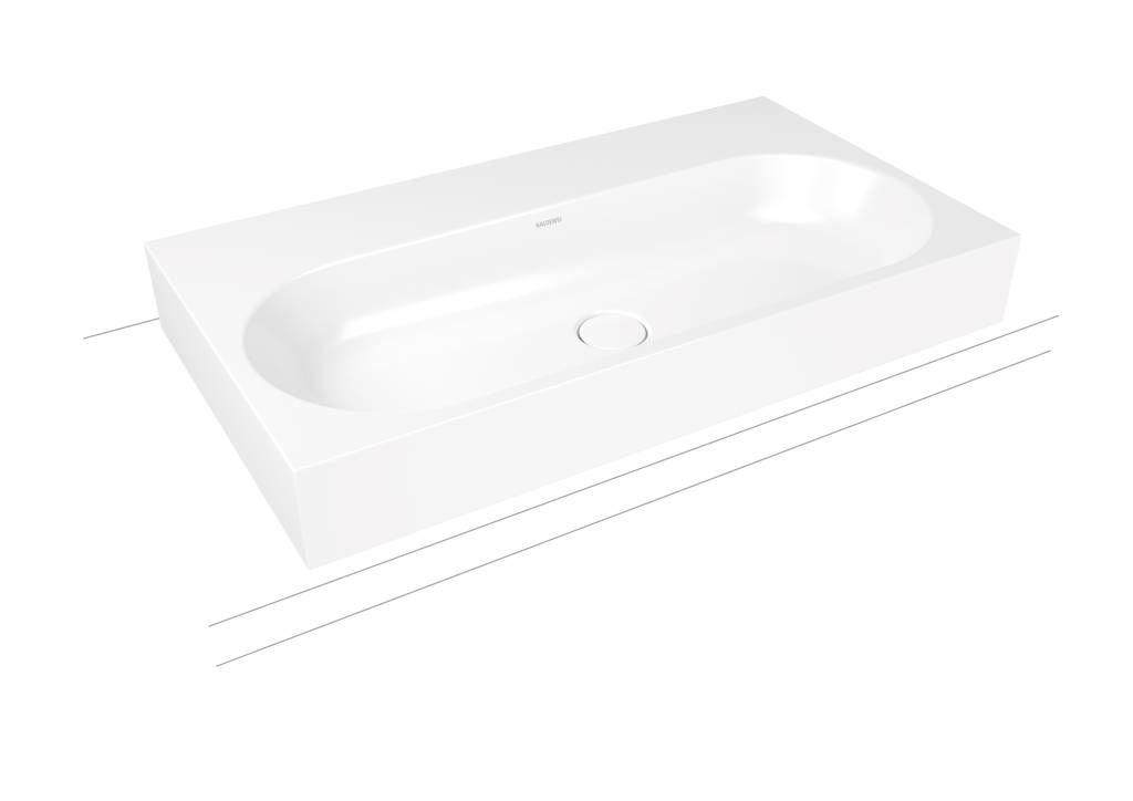 Kaldewei Centro Aufsatzwaschtisch 3058 B:90xT:50cm ohne Überlauf mit 3 Hahnlöchern weiß mit Perl-Effekt 903106033001