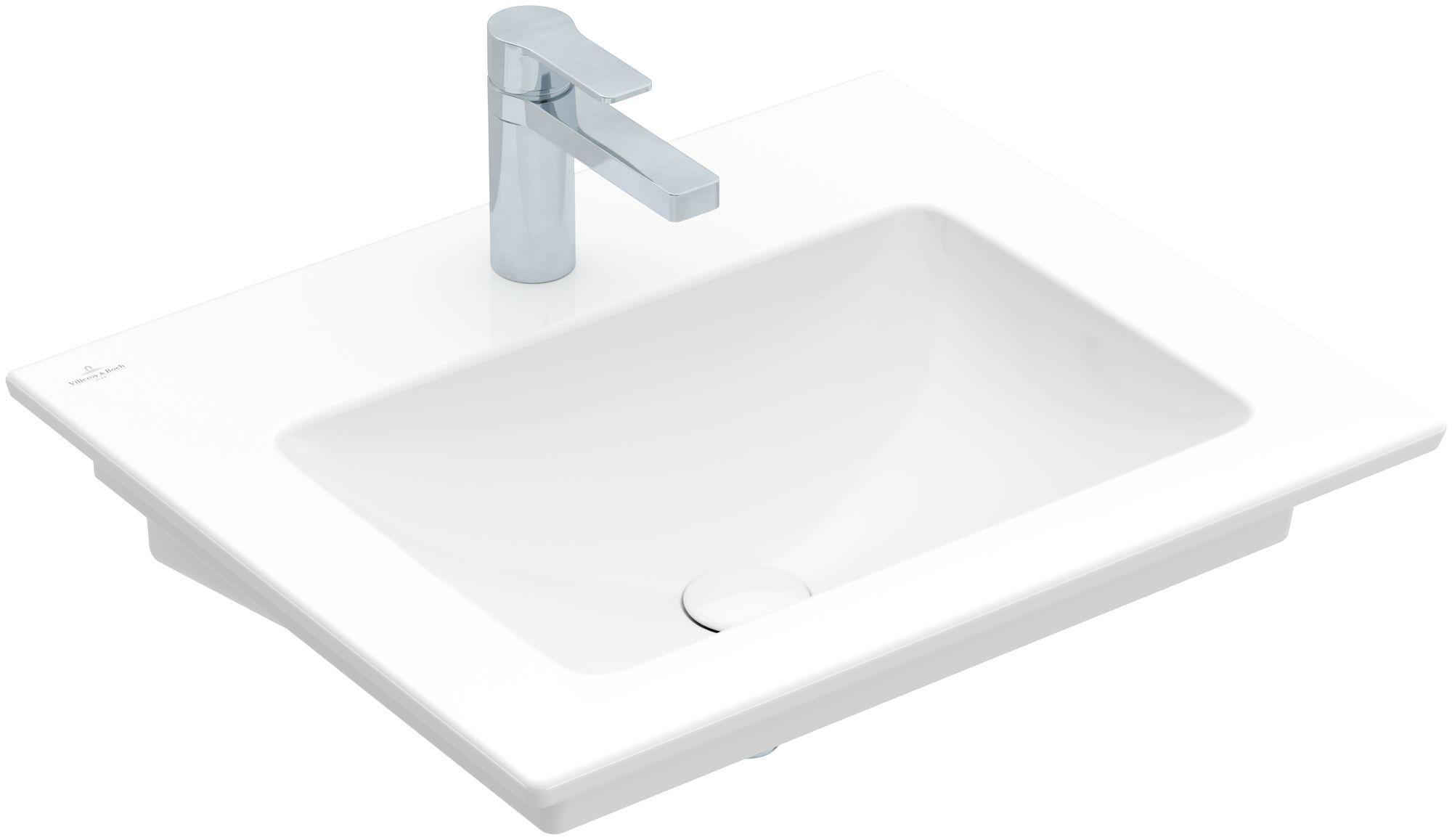 Villeroy & Boch Venticello Waschtisch B:60xT:50cm 1 Hahnloch ohne Überlauf weiß mit Ceramicplus 412461R1