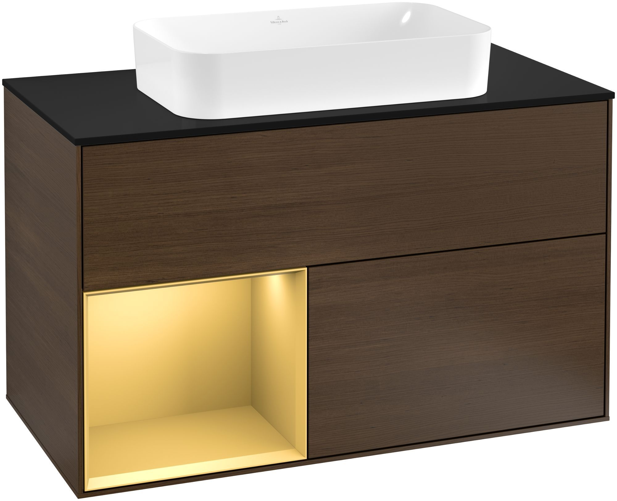 Villeroy & Boch Finion G24 Waschtischunterschrank mit Regalelement 2 Auszüge Waschtisch mittig LED-Beleuchtung B:100xH:60,3xT:50,1cm Front, Korpus: Walnut Veneer, Regal: Gold Matt, Glasplatte: Black Matt G242HFGN