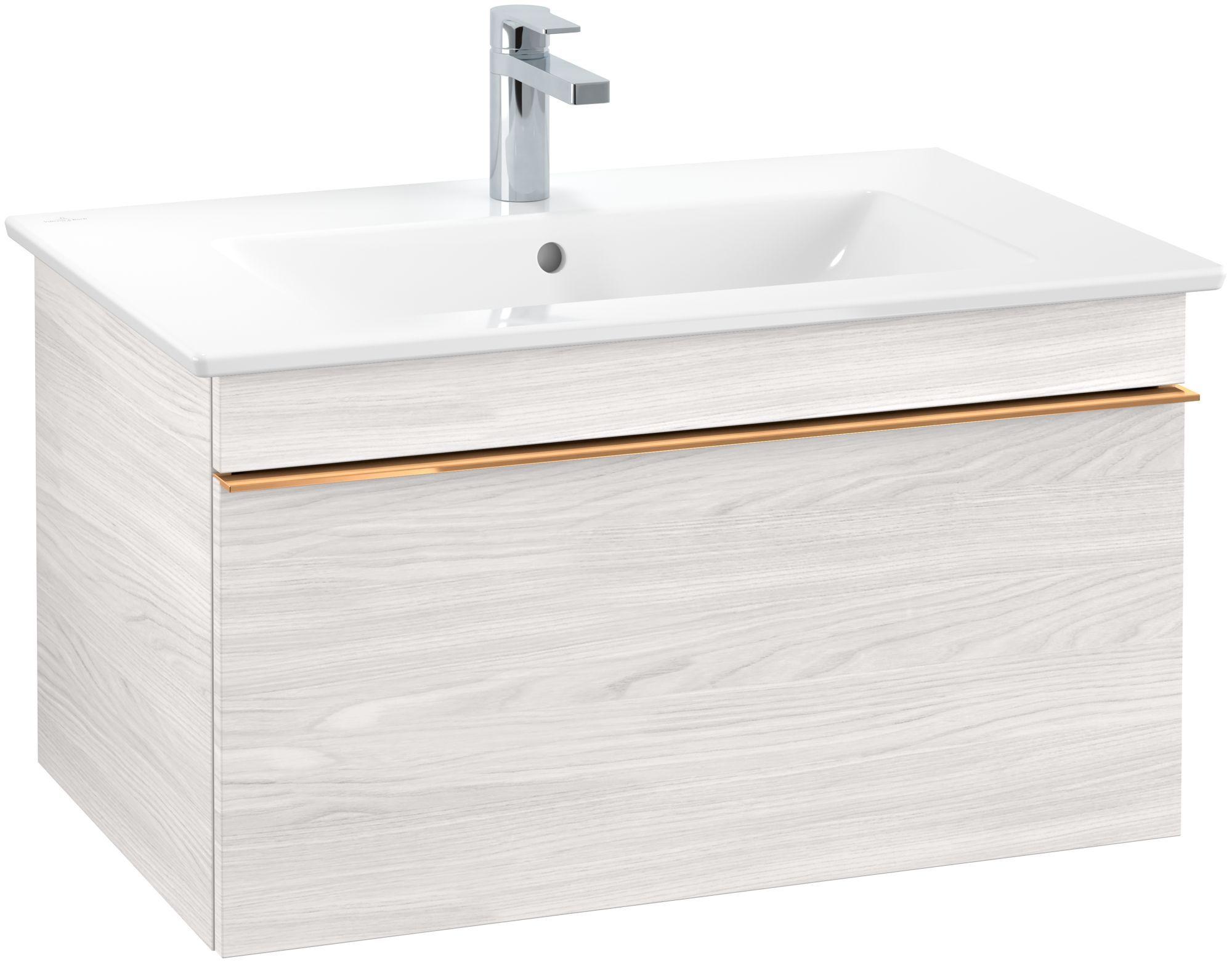 Villeroy & Boch Venticello Waschtischunterschrank 1 Auszug B:75,3xH:42xT:50,2cm white wood Griffe copper A93405E8