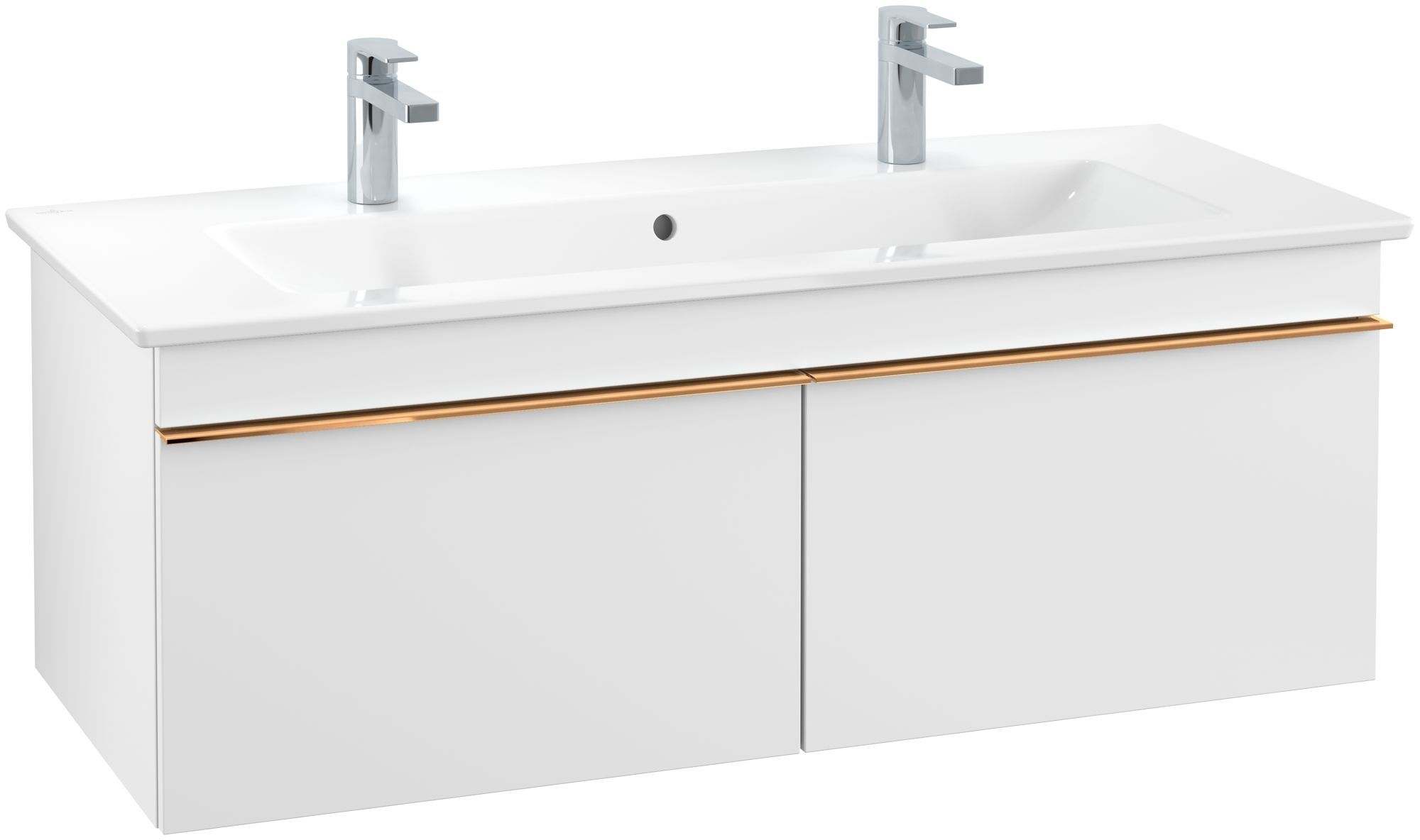 Villeroy & Boch Venticello Waschtischunterschrank 2 Auszüge B:115,3xH:42cm white matt Griffe copper A93805MS