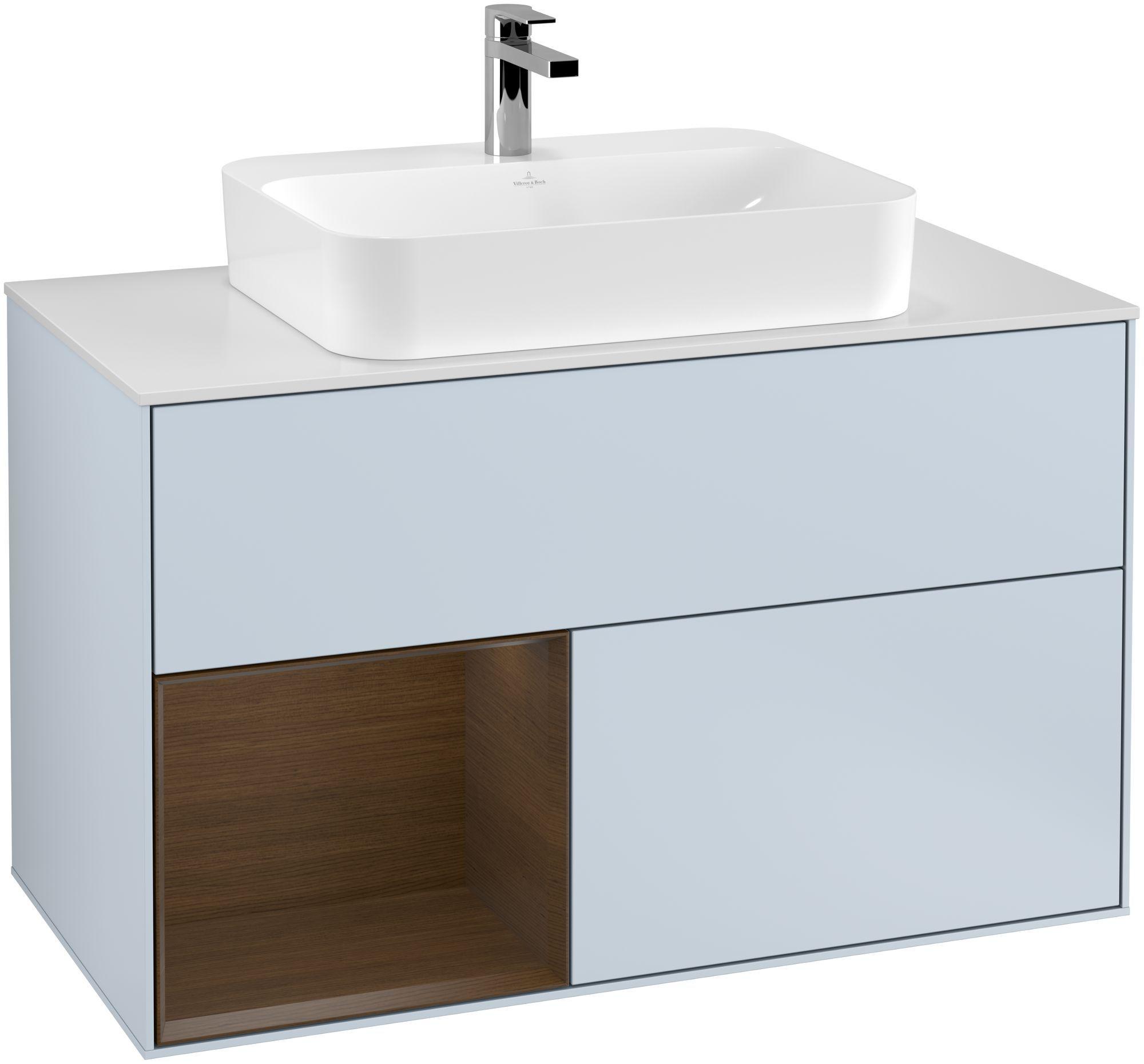 Villeroy & Boch Finion G36 Waschtischunterschrank mit Regalelement 2 Auszüge Waschtisch mittig LED-Beleuchtung B:100xH:60,3xT:50,1cm Front, Korpus: Cloud, Regal: Walnut Veneer, Glasplatte: White Matt G361GNHA