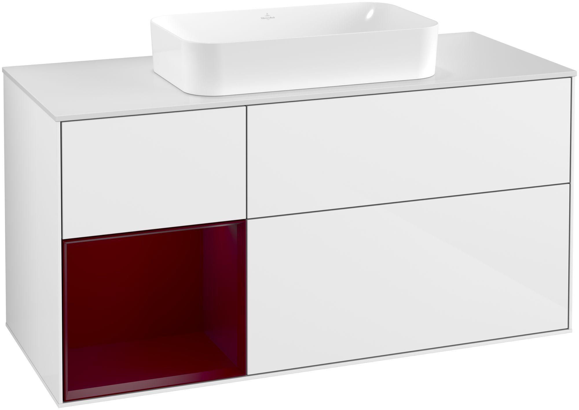 Villeroy & Boch Finion G29 Waschtischunterschrank mit Regalelement 3 Auszüge Waschtisch mittig LED-Beleuchtung B:120xH:60,3xT:50,1cm Front, Korpus: Glossy White Lack, Regal: Peony, Glasplatte: White Matt G291HBGF