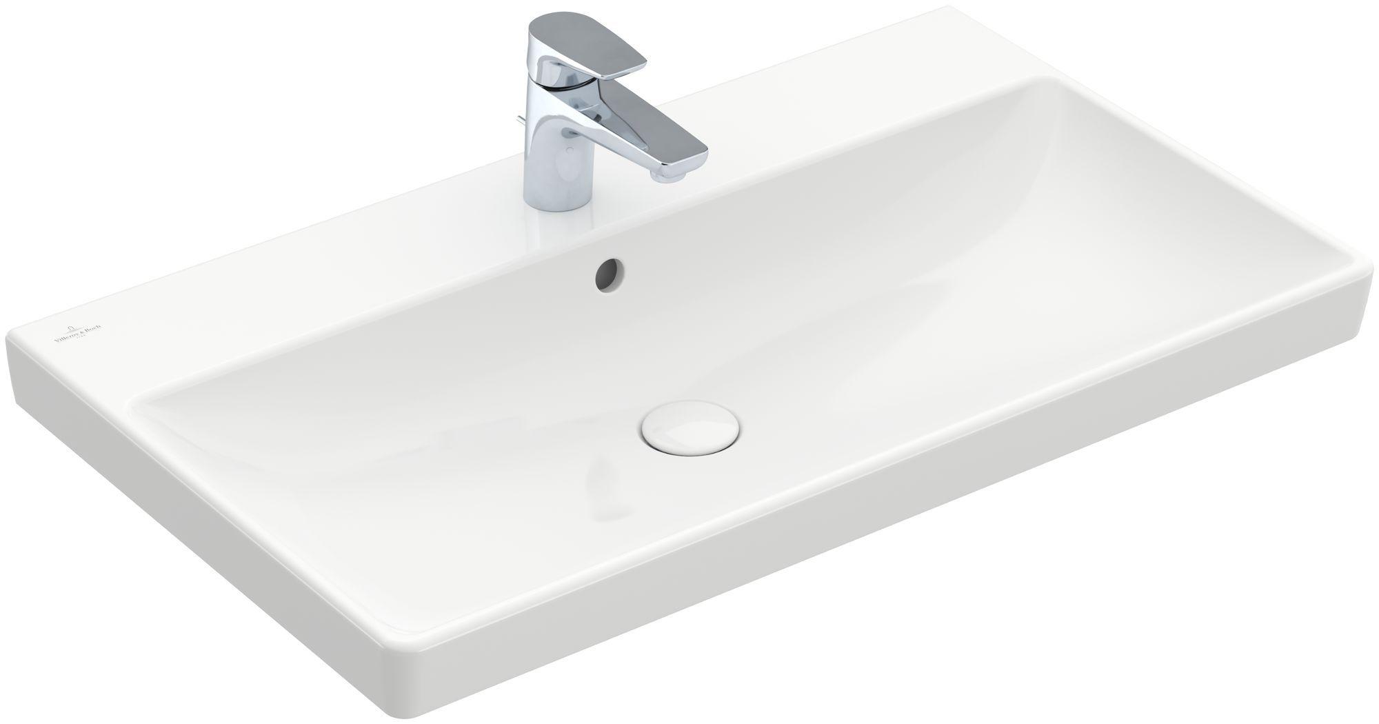 Villeroy & Boch Avento Waschtisch B:80xT:47cm 1 Hahnloch mit Überlauf weiß mit CeramicPlus 415680R1