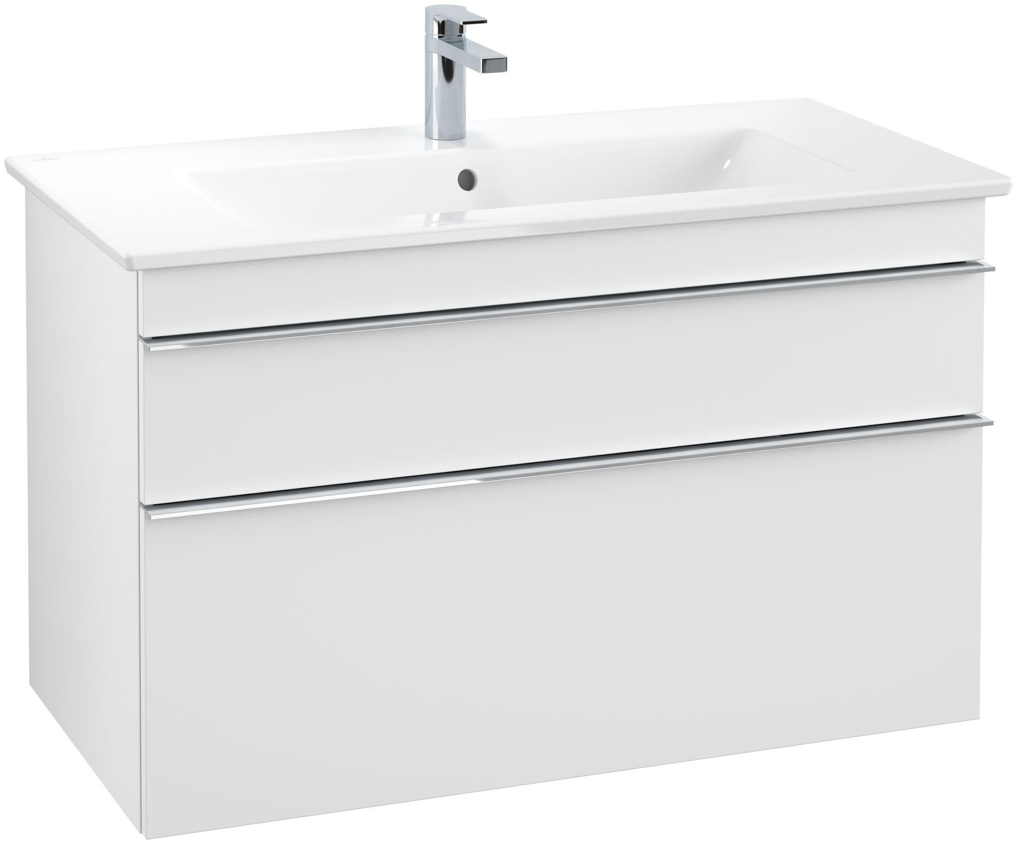 Villeroy & Boch Venticello Waschtischunterschrank 2 Auszüge B:953xT:502xH:590mm weiß matt Griffe chrom A92601MS