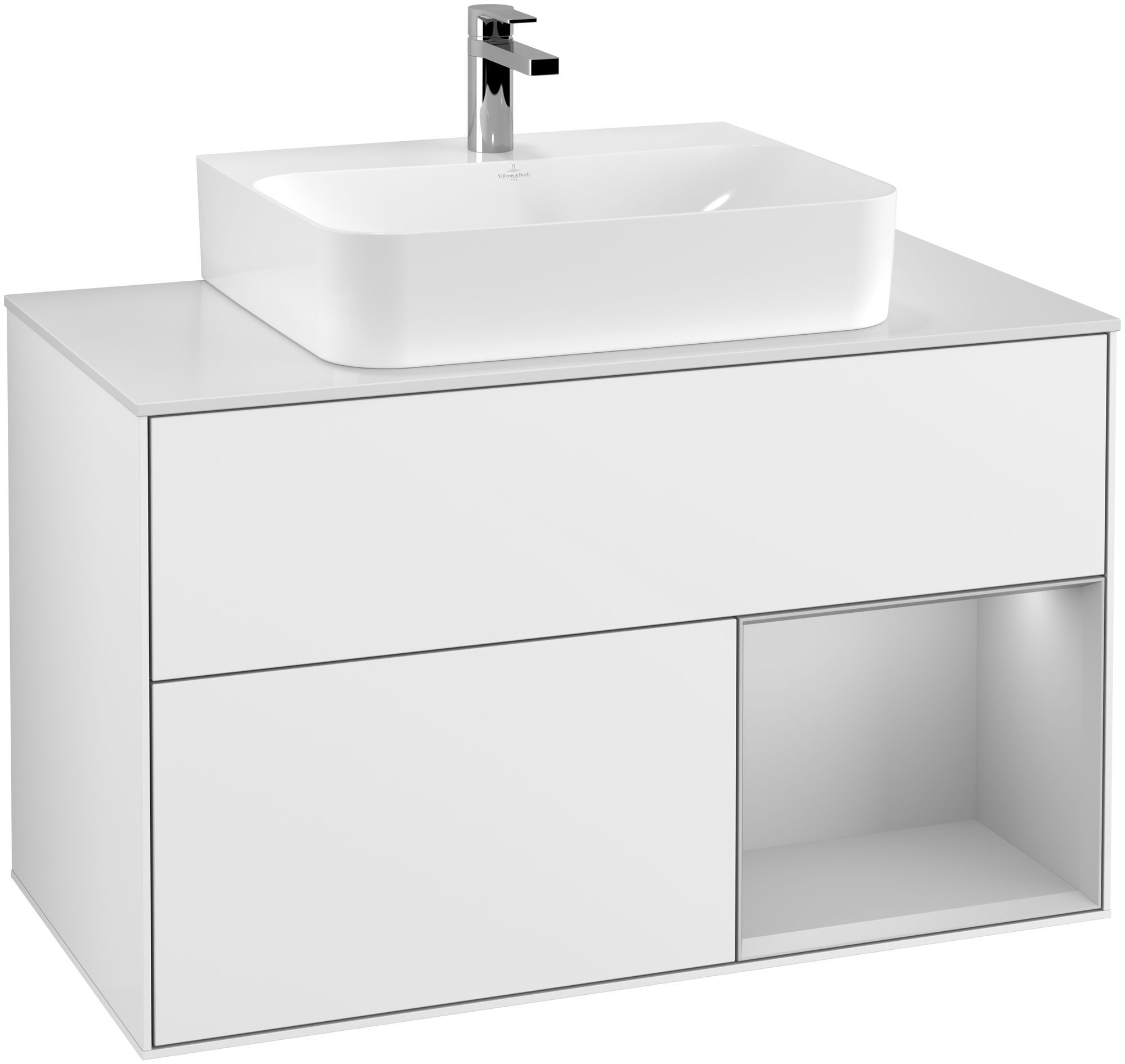 Villeroy & Boch Finion F12 Waschtischunterschrank mit Regalelement 2 Auszüge für WT mittig LED-Beleuchtung B:100xH:60,3xT:50,1cm Front, Korpus: Glossy White Lack, Regal: Light Grey Matt, Glasplatte: White Matt F121GJGF