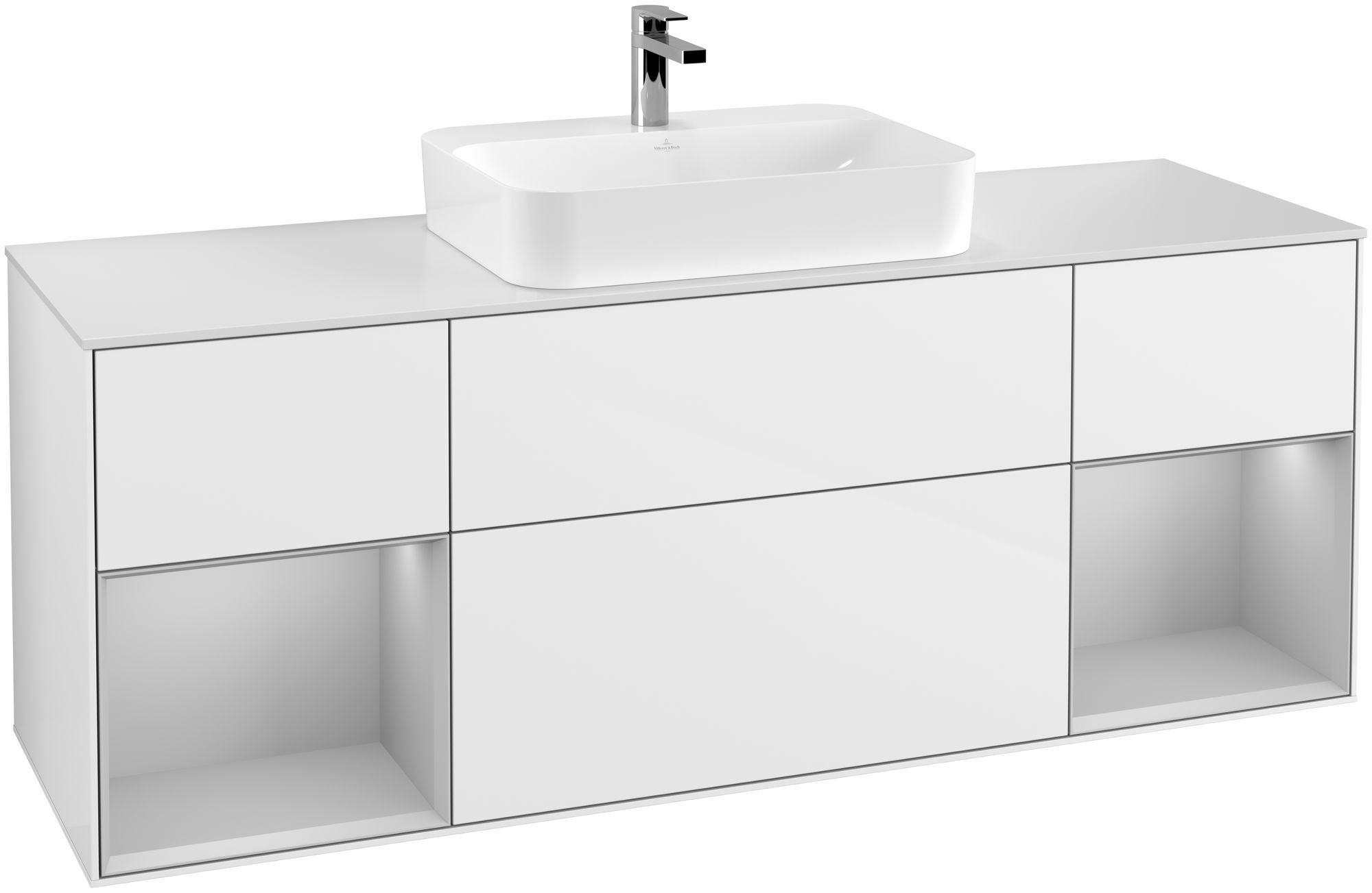 Villeroy & Boch Finion G45 Waschtischunterschrank mit Regalelement 4 Auszüge für WT mittig LED-Beleuchtung B:160xH:60,3xT:50,1cm Front, Korpus: Glossy White Lack, Regal: Light Grey Matt, Glasplatte: White Matt G451GJGF
