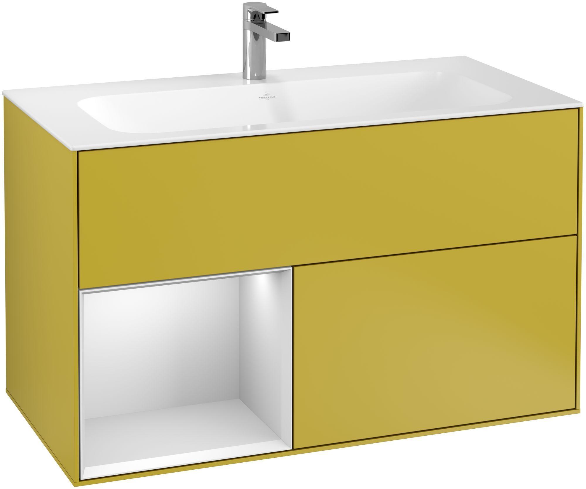 Villeroy & Boch Finion G03 Waschtischunterschrank mit Regalelement 2 Auszüge LED-Beleuchtung B:99,6xH:59,1xT:49,8cm Front, Korpus: Sun, Regal: Weiß Matt Soft Grey G030MTHE