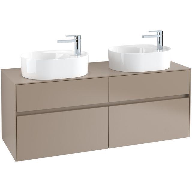 Villeroy & Boch Waschbeckenunterschrank Collaro C064L0, 1400 x 548 x 500 mm, mit Beleuchtung, 4 Auszüge, für 2 Waschbecken, Nordic Oak C064L0VJ
