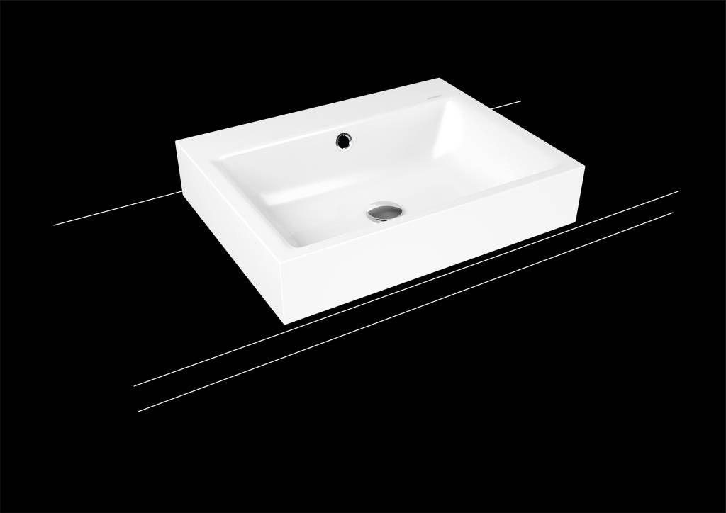 Kaldewei Puro Aufsatzwaschtisch 3157 B:60xT:46cm mit Überlauf mit 1 Hahnloch weiß mit Perl-Effekt 900706013001