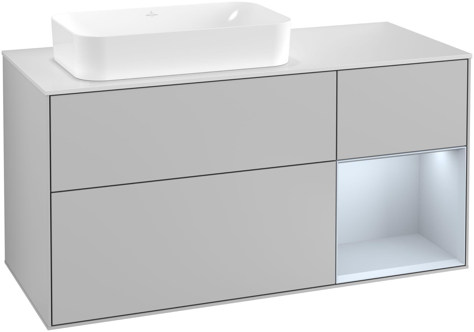 Villeroy & Boch Finion G28 Waschtischunterschrank mit Regalelement 3 Auszüge Waschtisch links LED-Beleuchtung B:120xH:60,3xT:50,1cm Front, Korpus: Light Grey Matt, Regal: Cloud, Glasplatte: White Matt G281HAGJ