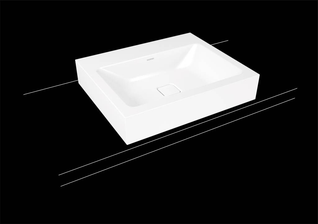 Kaldewei Cono Aufsatzwaschtisch 3085 B:60xT:50cm ohne Überlauf mit 3 Hahnlöchern weiß mit Perl-Effekt 902106033001