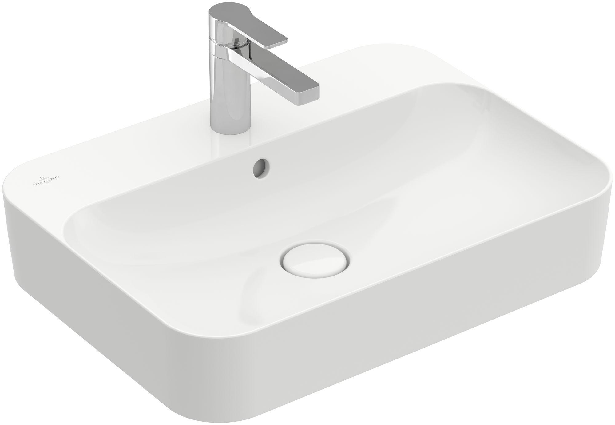 Villeroy & Boch Finion Aufsatzwaschtisch mit Überlauf 1 Hahnloch B:60xT:44,5cm mit Überlauf 1 Hahnloch weiß Ceramicplus 414260R1