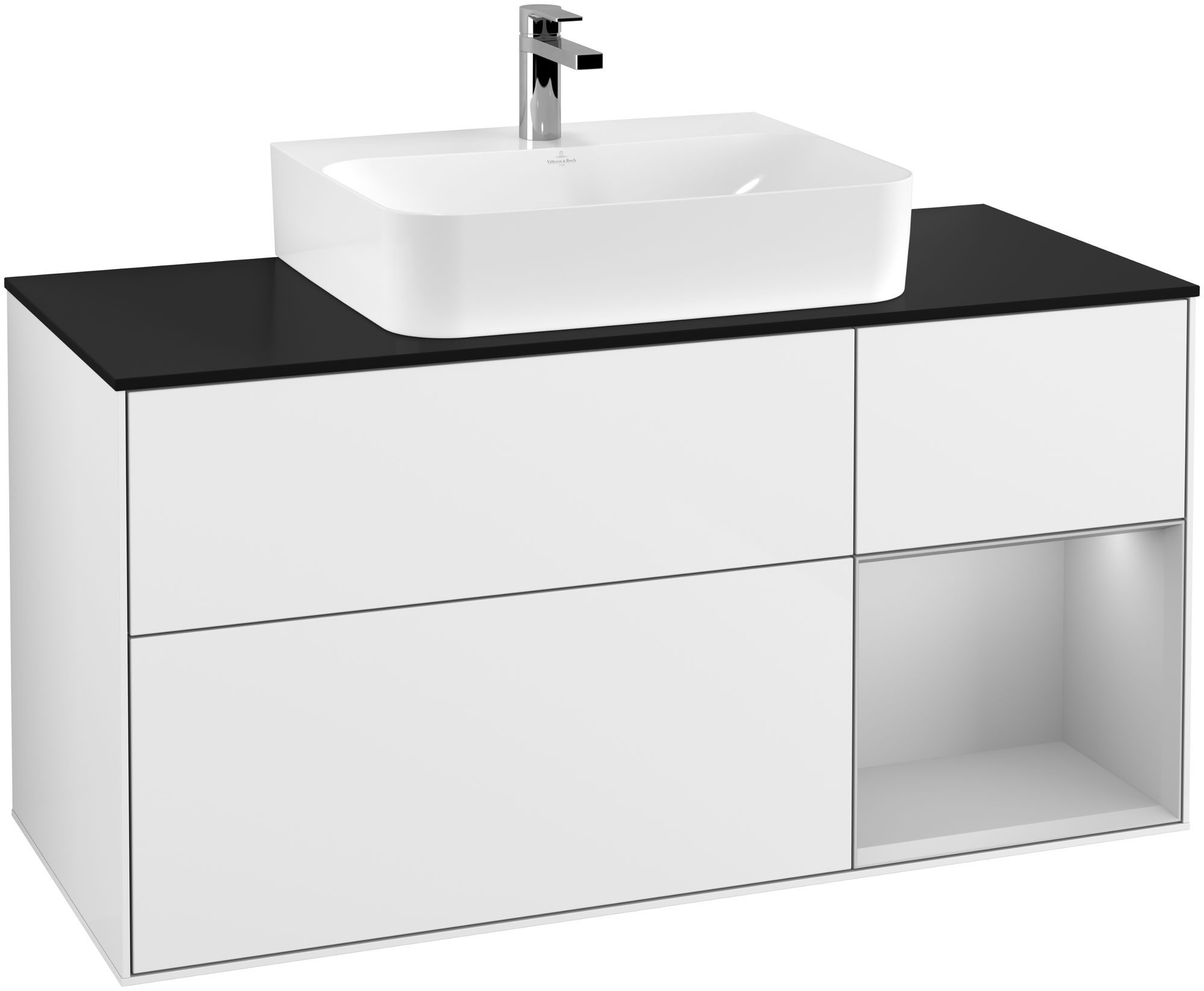 Villeroy & Boch Finion G17 Waschtischunterschrank mit Regalelement 3 Auszüge für WT mittig LED-Beleuchtung B:120xH:60,3xT:50,1cm Front, Korpus: Glossy White Lack, Regal: Light Grey Matt, Glasplatte: Black Matt G172GJGF