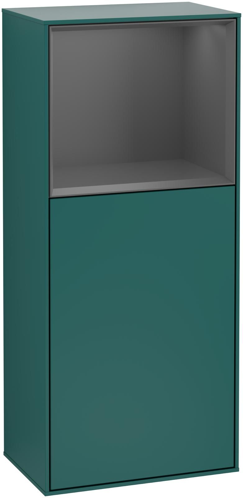 Villeroy & Boch Finion F52 Seitenschrank mit Regalelement 1 Tür Anschlag links LED-Beleuchtung B:41,8xH:93,6xT:27cm Front, Korpus: Cedar, Regal: Anthracite Matt F520GKGS