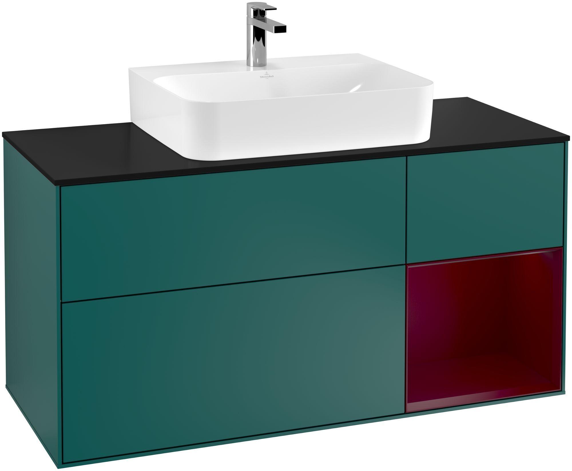 Villeroy & Boch Finion G17 Waschtischunterschrank mit Regalelement 3 Auszüge Waschtisch mittig LED-Beleuchtung B:120xH:60,3xT:50,1cm Front, Korpus: Cedar, Regal: Peony, Glasplatte: Black Matt G172HBGS