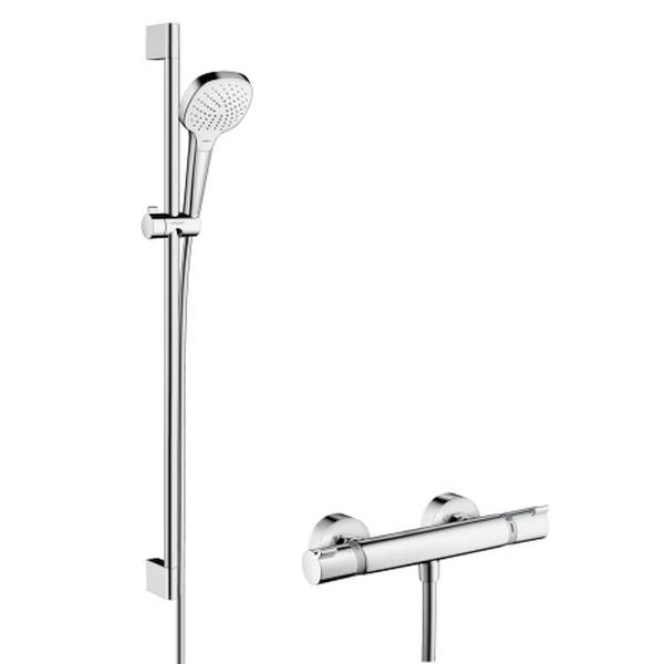 Hansgrohe Croma Select E Vario Brausegarnitur mit Ecostat Set 90cm weiß chrom 27082400