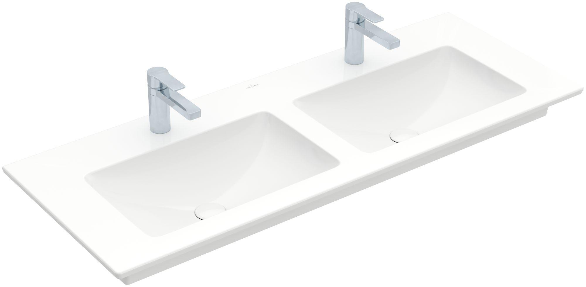 Villeroy & Boch Venticello Möbel-Doppelwaschtisch B:130xT:50cm 1 Hahnloch ohne Überlauf weiß 4111DG01
