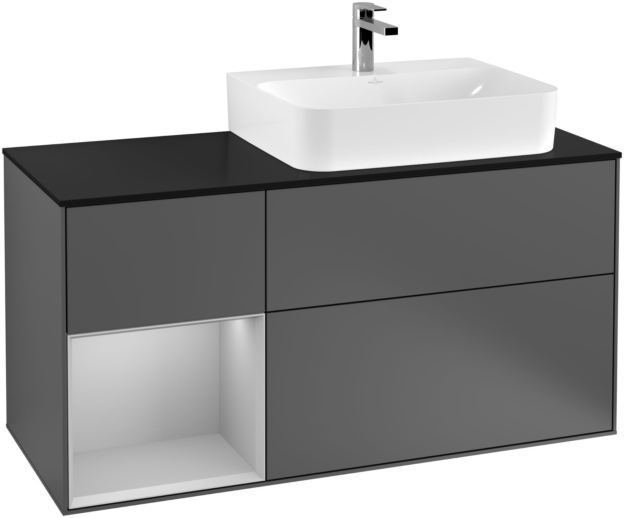 Villeroy & Boch Finion G14 Waschtischunterschrank mit Regalelement 3 Auszüge für WT rechts LED-Beleuchtung B:120xH:60,3xT:50,1cm Front, Korpus: Anthracite Matt, Regal: Light Grey Matt, Glasplatte: Black Matt G142GJGK