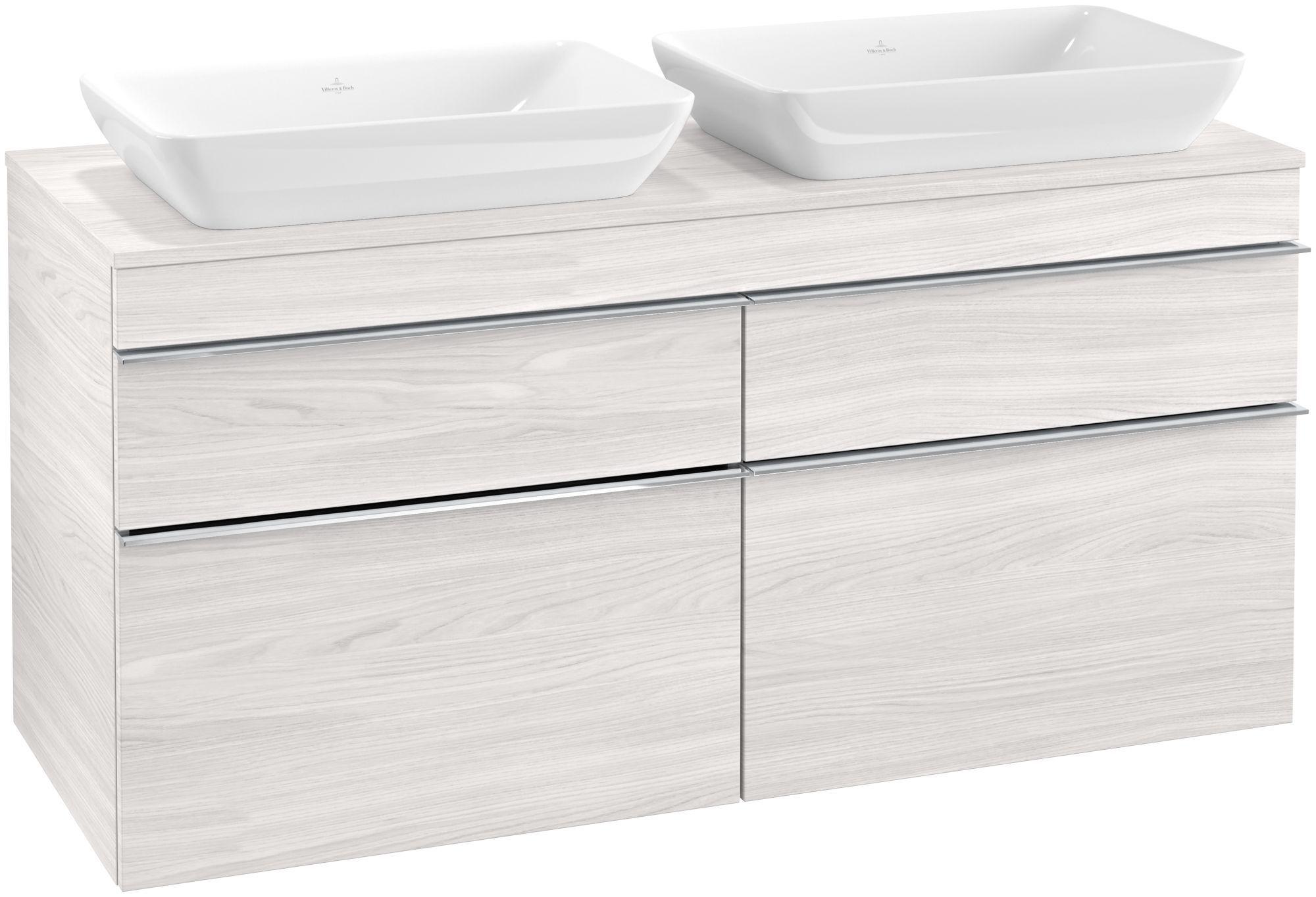 Villeroy & Boch Venticello Waschtischunterschrank für 2 Waschtische 4 Auszüge B:125,7xH:60,6xT:50,2cm white wood Griffe chrom Griffe chrom A94401E8