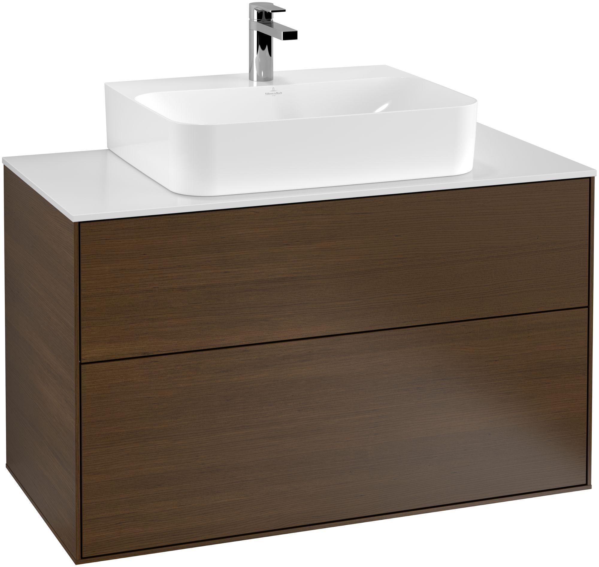 Villeroy & Boch Finion F10 Waschtischunterschrank 2 Auszüge Waschtisch mittig B:100xH:60,3xT:50,1cm Front, Korpus: Walnut Veneer, Glasplatte: White Matt F10100GN