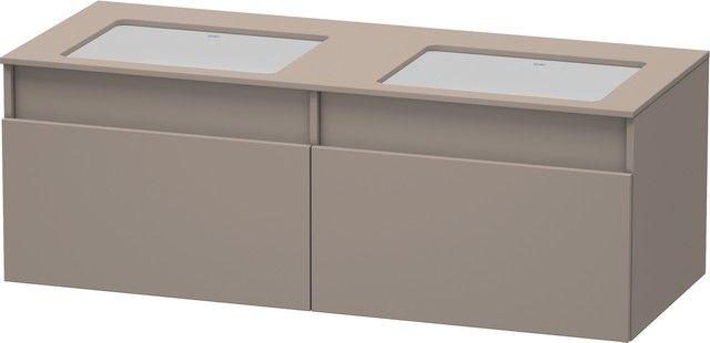 Duravit DuraStyle Waschtischunterschrank wandhängend B:140xH:50xT:55 cm 2 Auszügen für 2 Einbauwaschtische von unten bonded basalt mattDS6886B4343