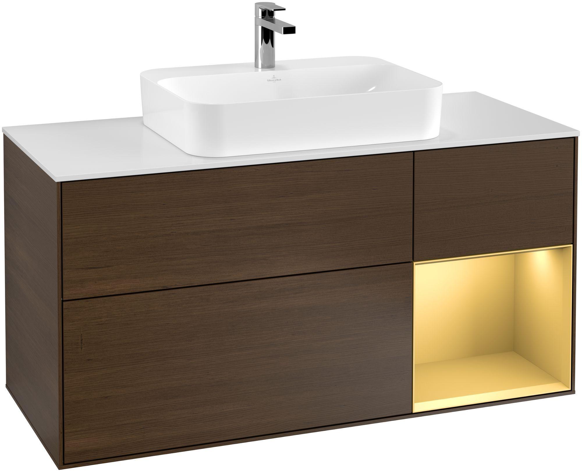 Villeroy & Boch Finion G42 Waschtischunterschrank mit Regalelement 3 Auszüge Waschtisch mittig LED-Beleuchtung B:120xH:60,3xT:50,1cm Front, Korpus: Walnut Veneer, Regal: Gold Matt, Glasplatte: White Matt G421HFGN