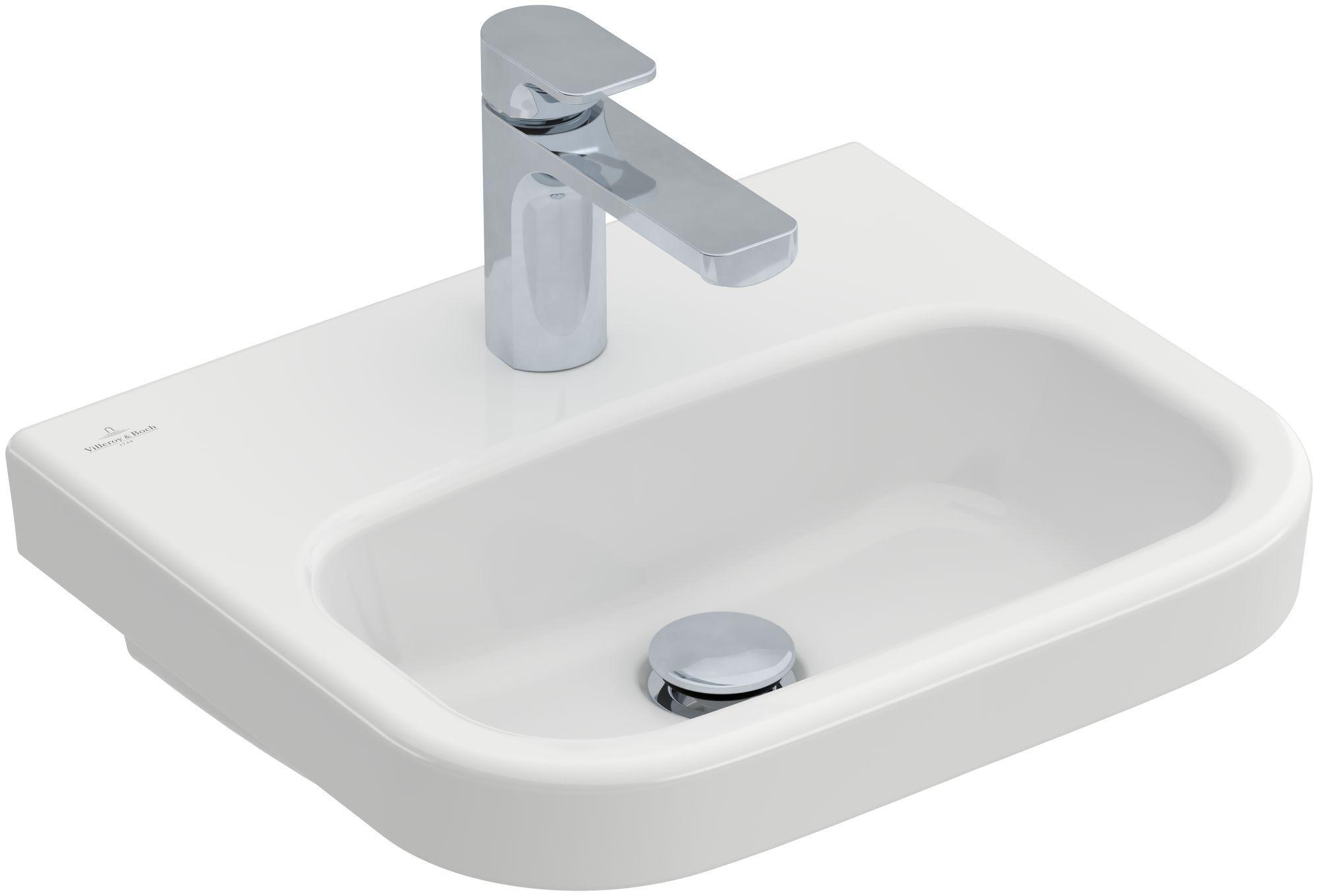 Villeroy & Boch Architectura Handwaschbecken B:45xT:38cm mit 1 Hahnloch ohne Überlauf weiß mit CeramicPlus 437346R1