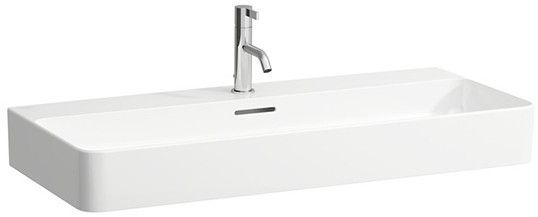 Laufen VAL Aufsatzwaschtisch mit drei Hahnlöchern mit Überlauf Unterseite geschliffen B:95xT:42cm weiß mit CleanCoat LCC H8162874001081