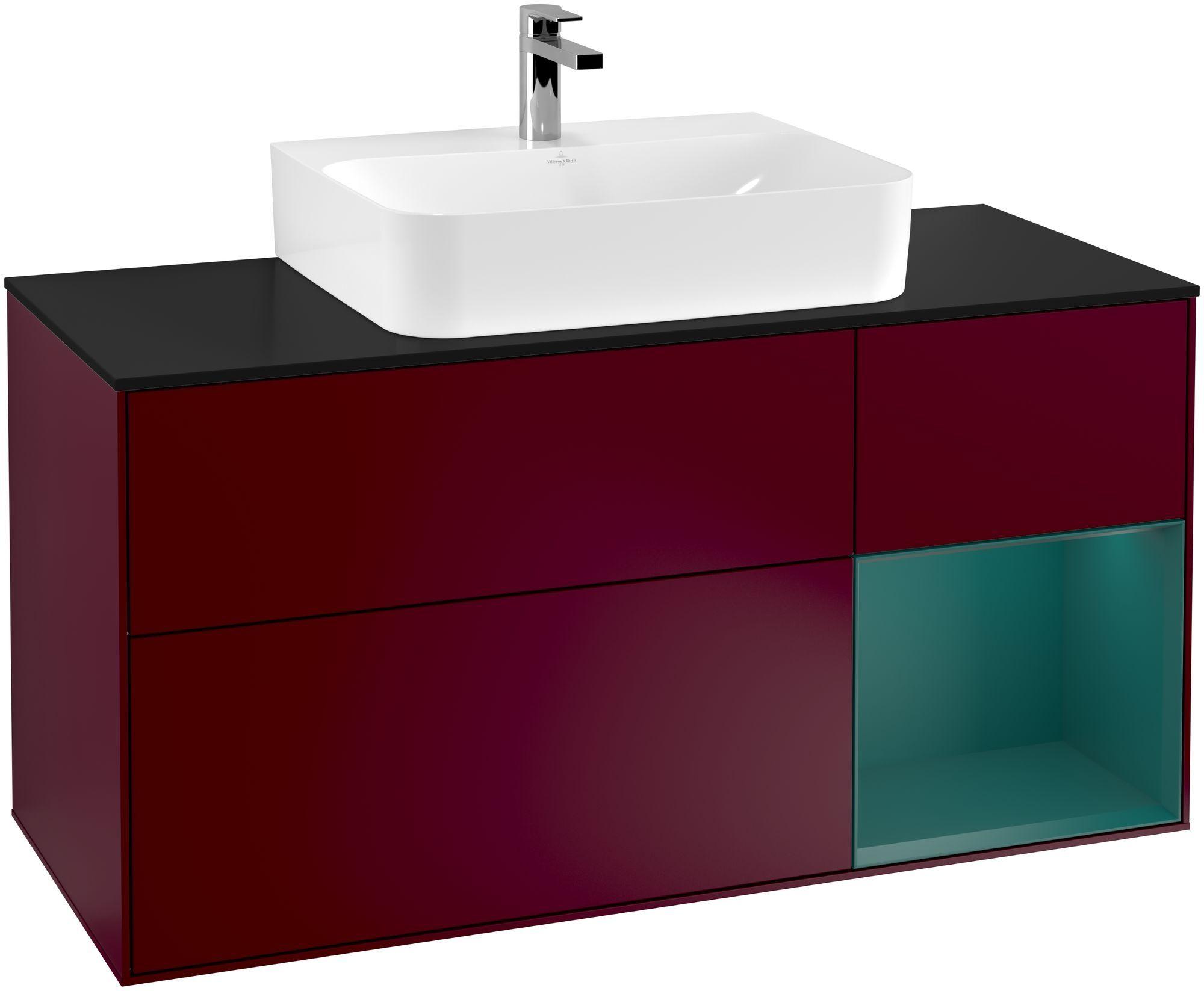 Villeroy & Boch Finion G17 Waschtischunterschrank mit Regalelement 3 Auszüge Waschtisch mittig LED-Beleuchtung B:120xH:60,3xT:50,1cm Front, Korpus: Peony, Regal: Cedar, Glasplatte: Black Matt G172GSHB