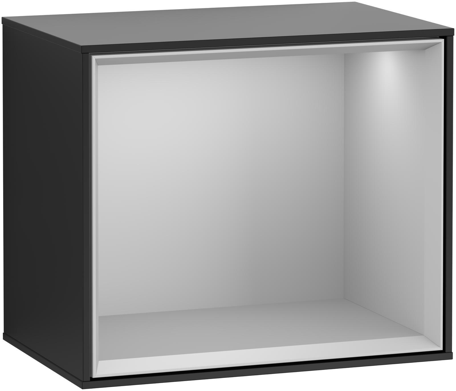 Villeroy & Boch Finion F59 Regalmodul LED-Beleuchtung B:41,8xH:35,6xT:27cm Front, Korpus: Black Matt Lacquer, Regal: Light Grey Matt F590GJPD