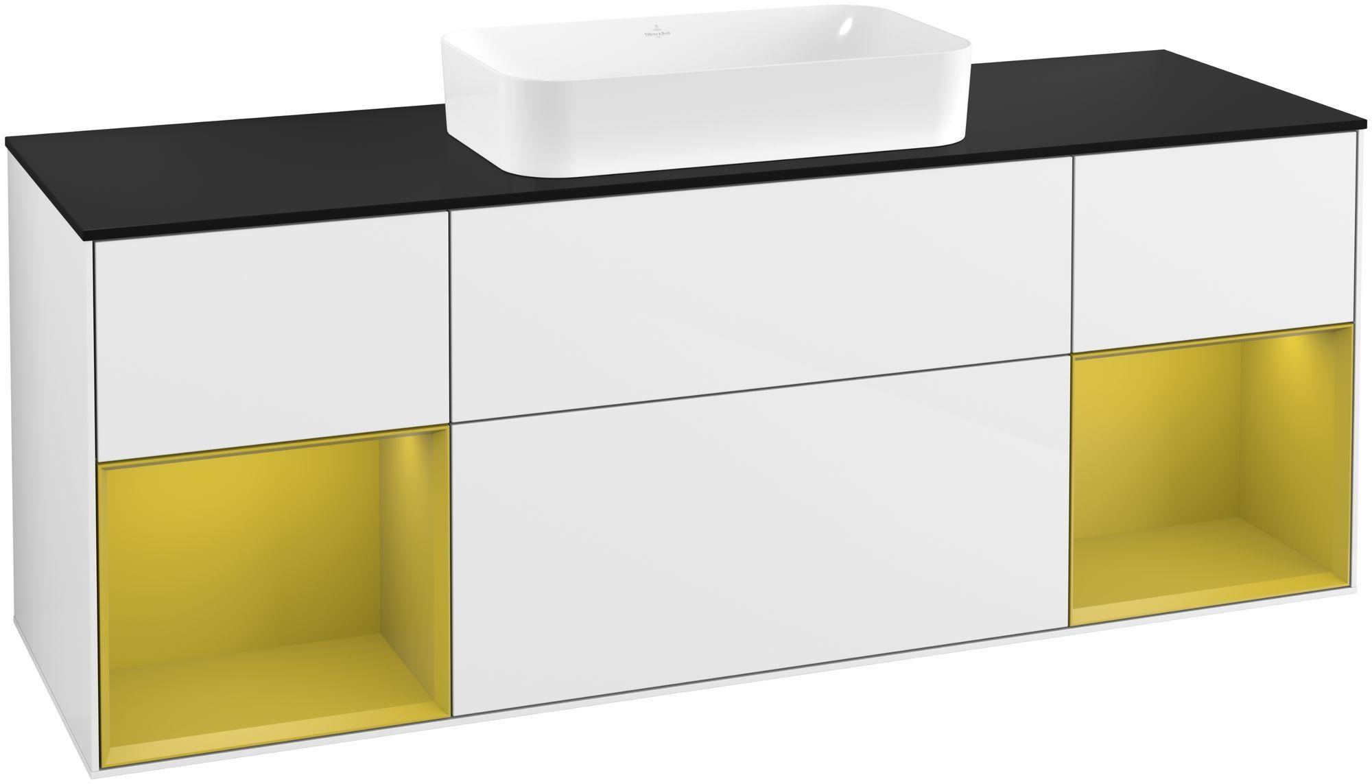 Villeroy & Boch Finion G33 Waschtischunterschrank mit Regalelement 4 Auszüge Waschtisch mittig LED-Beleuchtung B:160xH:60,3xT:50,1cm Front, Korpus: Glossy White Lack, Regal: Sun, Glasplatte: Black Matt G332HEGF