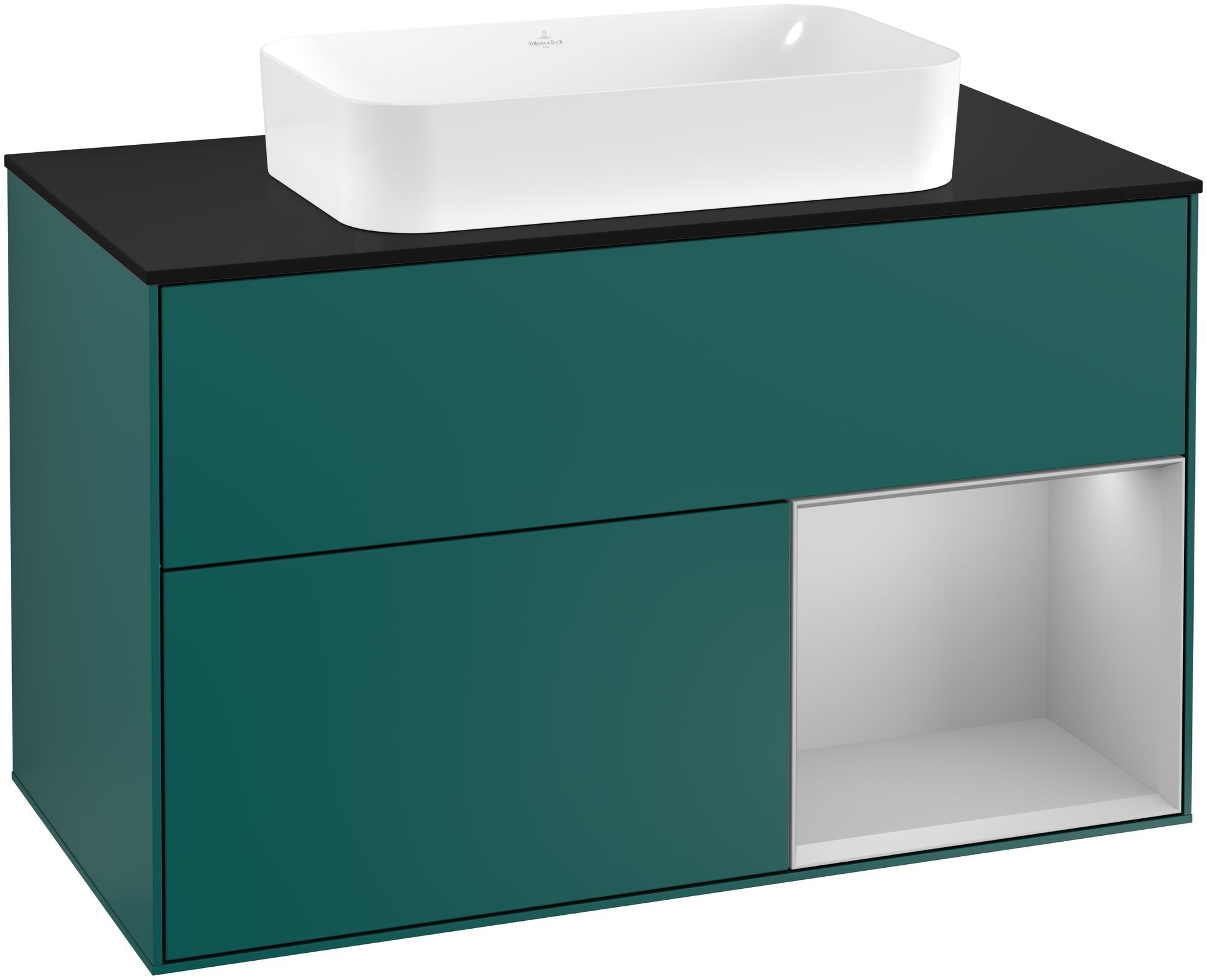 Villeroy & Boch Finion G25 Waschtischunterschrank mit Regalelement 2 Auszüge für WT mittig LED-Beleuchtung B:100xH:60,3xT:50,1cm Front, Korpus: Cedar, Regal: Light Grey Matt, Glasplatte: Black Matt G252GJGS
