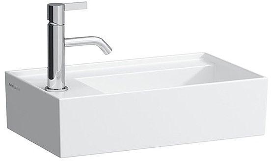 Laufen by Kartell Handwaschbecken mit einem Hahnloch ohne Überlauf Armaturenbank links B:46xT:28cm schwarz glänzend H8153350201111